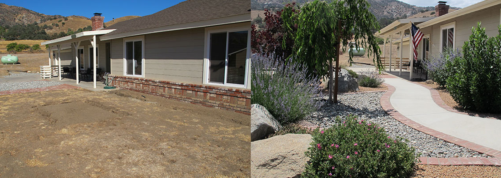 oak knolls landscape before and after