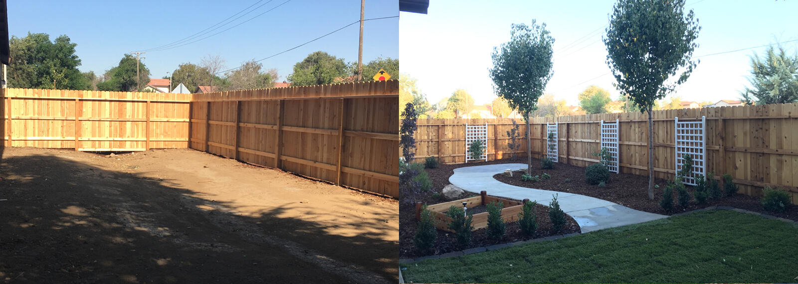 tehachapi landscaped backyard before and after