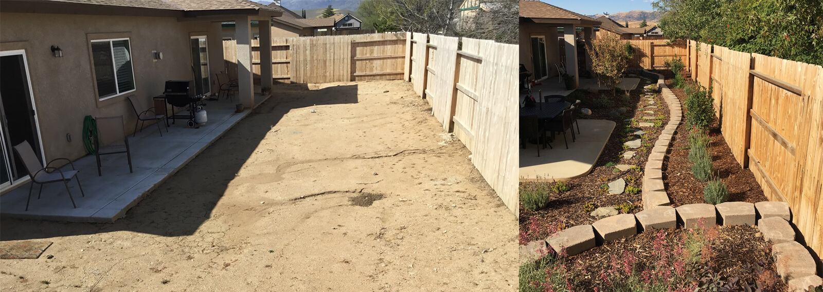 tehachapi landscape makeover before and after